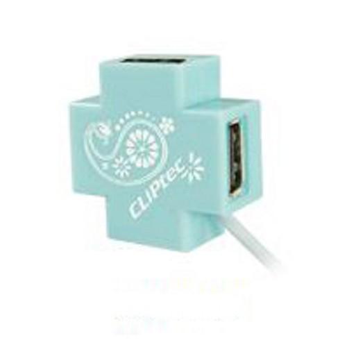 CLIPTEC Mini-XCross USB 2.0 4 Port Hub [RZH209] - Blue - Cable / Connector USB